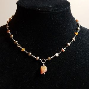 Jewelry - Pearl and Amber choker necklace